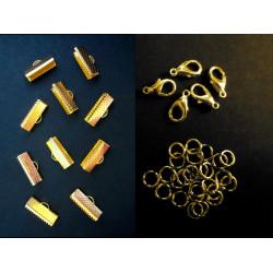 10 gold Bandklemmen 13mm + 5 Karabiner + 20 Biegeringe als Schmuckzubehör Set für Halsbänder - Schmuckzubehör Set