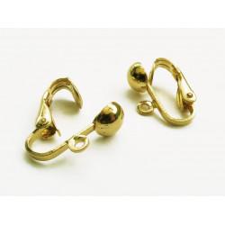 2 Stück / 1 Paar SUPER gold Ohrclips ca.14x18mm goldfarben - Schmuckzubehör zum Ohrclips selbermachen