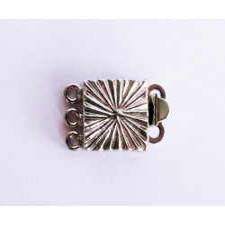1x 3-strang silber Kastensteckverschluss 10x15x4mm silber Kastenverschluss Steckverschluss - Schmuckzubehör Schmuckverschluss