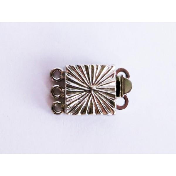Schmuckzubehör  1x 3-strang silber Kastensteckverschluss 10x15x4mm silber ...