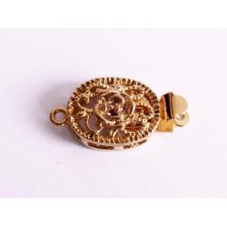 1x gold Kastensteckverschluss oval 19x10,5x5mm gold Kastenverschluss ovaler Steckverschluss - Schmuckzubehör Schmuckverschluss