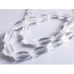 1 Strang transparente Glasperlen 12x6mm Olivenform weiss transparente Glasperlen - Schmuckzubehör