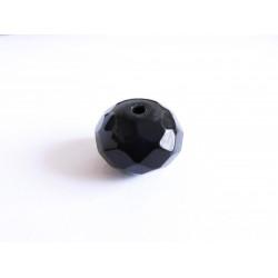 1x große geschliffene schwarze Kristallglasperlen 16x12mm Jet Glasperle - Schmuckzubehör Kristallglasperlen