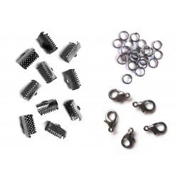 10 gunmetal Bandklemmen 13mm + 5 Karabiner + 20 Biegeringe als Schmuckzubehör Set für Halsband - gunmetal aSchmuckzubehör Set