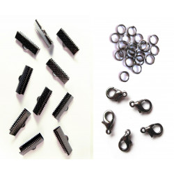 10 gunmetal Bandklemmen 20mm + 5 Karabiner + 20 Biegeringe als Schmuckzubehör Set für Halsband - gunmetal aSchmuckzubehör Set