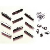 10 gunmetal Bandklemmen 35mm + 5 Karabiner + 20 Biegeringe als Schmuckzubehör Set für Halsband - gunmetal aSchmuckzubehör Set