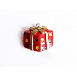 1x Geschenk mit Schleife Weihnachts Anhänger ca. 22x22x8mm Resin Schmuckanhänger - Schmuckzubehör Weihnachten