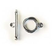 Silber Knebelverschluss Toggle silberfarben Ringteil 13 mm