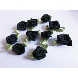 10x schwarze Satinrose 23x13mm mit Blättchen zum Bekleben Scrapbooking - Bastelbedarf Schmuckzubehör