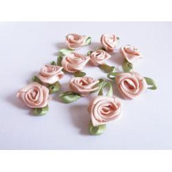 10x rosafarbene Satinrose mit Blättern 23x13mm zum Bekleben Scrapbooking - Bastelbedarf Schmuckzubehör