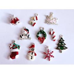 10x bunte Weihnachts Anhänger ca. 19-27mm emailliert X-Mas platinfarbene Schmuckanhänger - Schmuckzubehör Weihnachten