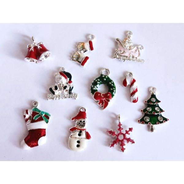 10x Bunte Weihnachts Anhanger 19 27mm Emailliert X Mas Platinfarbene