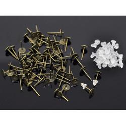 20 Stück / 10 Paar bronze Ohrstecker zum Bekleben Durchmesser ca. 6mm bronze Studs mit Stopper - Schmuckzubehör Ohrringe