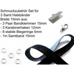 Schmuckzubehör Set für 15mm Halsband mit Samtband, Bandklemmen, Karabinern + Biegeringen - Schmuckzubehör Set