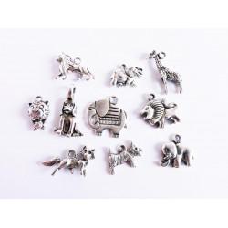 10 silber Tier Anhänger im Mix 11-23mm silberfarben Schmuckanhänger Tiere - Schmuckzubehör