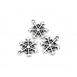 2x silber Schneeflocke ca. 18x14mm silber Schmuckanhänger Weihnachten - Schmuckzubehör Weihnachten