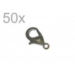 50x 12mm gunmetal Karabinerhaken schwarz metallfarben 12mm Schmuckverschluss - gunmetal Schmuckzubehör