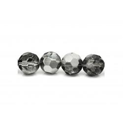 1x 16mm geschliffene Kristallglasperle in silber transparent - Schmuckzubehör Kristallglasperlen
