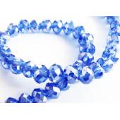 10x dunkelblaue geschliffene Kristallglasperlen 6x4mm mit Glanz - Schmuckzubehör Kristallglasperlen