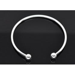 Versilberter European Armreif ca. 19cm hellsilber Armreif für Europen Beads - Schmuckzubehör