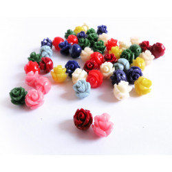 50x kleine bunte Rosen Perlen 7x7mm aus Resin im bunten Perlenmix - Resin Schmuckzubehör