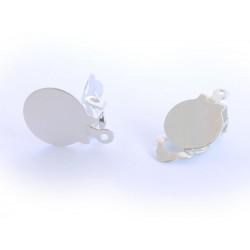 2 Stück hellsilber Ohrclips zum Bekleben mit Öse ca. 10x17mm platinfarbene Ohr Clips - Schmuckzubehör zum Ohrclips selbermachen