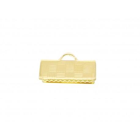 10x gold Bandklemme 10mm goldfarben kariert 10mm Bandklemmen - Schmuckzubehör