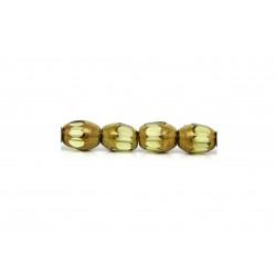 4x 6x8mm hellgrün gold geschliffene Kristallglasperle - Schmuckzubehör Kristallglasperlen