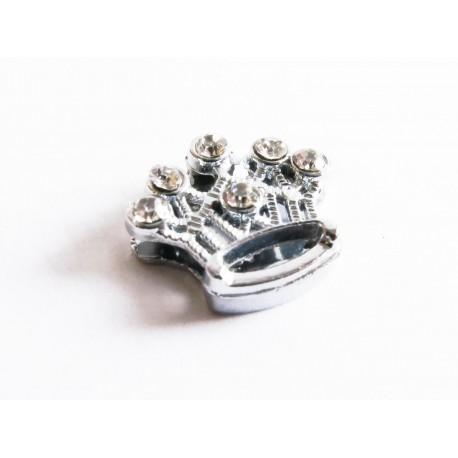 1x silber Strass Krone Schiebeperle 15x13mm flache silber Perle als Krone - Schmuckzubehör Schiebeperle