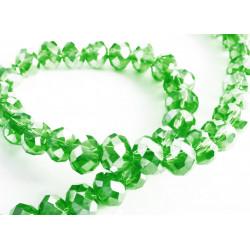 10x grüne geschliffene Kristallglasperlen 6x4mm mit Glanz - Schmuckzubehör Kristallglasperlen