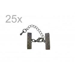 25x 20mm Bandklemme gunmetal Verschluss mit Karabiner und Kette dunkel metallfarben / schwarz - gunmetal Schmuckzubehör
