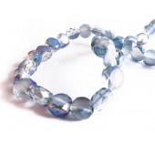 10x violettblaue Kristallglasperlen geschliffen 6x4mm mit AB-Effekt - Schmuckzubehör Kristallglasperlen