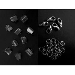 10 gunmetal Bandklemmen 10mm + 5 Karabiner + 20 Biegeringe als Schmuckzubehör Set für Halsband - gunmetal aSchmuckzubehör Set