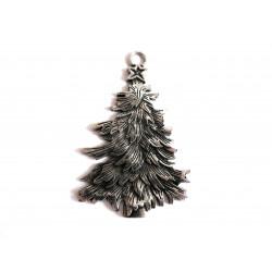 1x großer silber Weihnachtsbaum Anhänger ca. 66x42mm X-Mas silberfarbener Schmuckanhänger - Schmuckzubehör Weihnachten