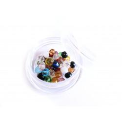 ca. 50 St. 4x3mm geschliffene Kristallglasperlen im bunten Perlenmix - buntes Schmuckzubehör