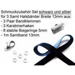 Schmuckzubehör Set für 13mm Halsband mit schwarzem Samtband, silber Bandklemmen, Karabinern + Biegeringen - Schmuckzubehör Set
