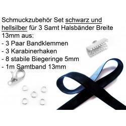 Schmuckzubehör Set 13mm Halsband mit schwarzem Samtband, hellsilber Bandklemmen, Karabinern + Biegeringen - Schmuckzubehör Set