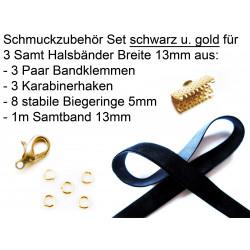 Schmuckzubehör Set für 13mm Halsband mit schwarzem Samtband, gold Bandklemmen, Karabinern + Biegeringen - Schmuckzubehör Set