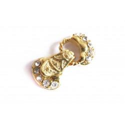 1x 3-Strang gold Strass Magnetverschluss 27x14x6mm klapp Magnetverschluss mit Strasssteinen - Schmuckzubehör Magnetverschluss