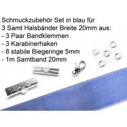 Schmuckzubehör Set in blau für 20mm Halsband aus Samtband, Bandklemmen, Karabinern + Biegeringen - Schmuckzubehör Set