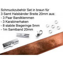 Schmuckzubehör Set in braun für 20mm Halsband aus Samtband, Bandklemmen, Karabinern + Biegeringen - Schmuckzubehör Set