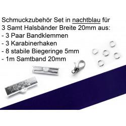 Schmuckzubehör Set in nachtblau für 20mm Halsband aus Samtband, Bandklemmen, Karabinern + Biegeringen - Schmuckzubehör Set
