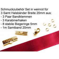 Schmuckzubehör Set in weinrot für 20mm Halsband aus Samtband, Bandklemmen, Karabinern + Biegeringen - Schmuckzubehör Set