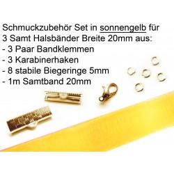 Schmuckzubehör Set in sonnengelb für 20mm Halsband aus Samtband, Bandklemmen, Karabinern + Biegeringen - Schmuckzubehör Set
