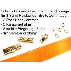 Schmuckzubehör Set in orange für 20mm Halsband aus Samtband, Bandklemmen, Karabinern + Biegeringen - Schmuckzubehör Set