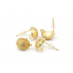 2 Stück / 1 Paar filigrane gold Ohrstecker mit Öse 17x12mm - Schmuckzubehör zum Ohrringe selbermachen