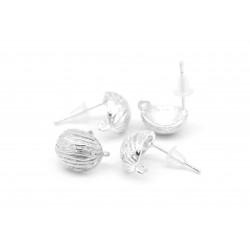 2 Stück / 1 Paar filigrane hellsilber Ohrstecker mit Öse 17x12mm - Schmuckzubehör zum Ohrringe selbermachen