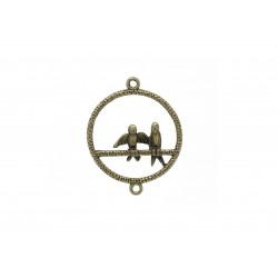 1x bronze Kettenverbinder 34x27mm mit Vögeln filigraner Kettenverteiler bronzefarben - bronze Schmuckzubehör