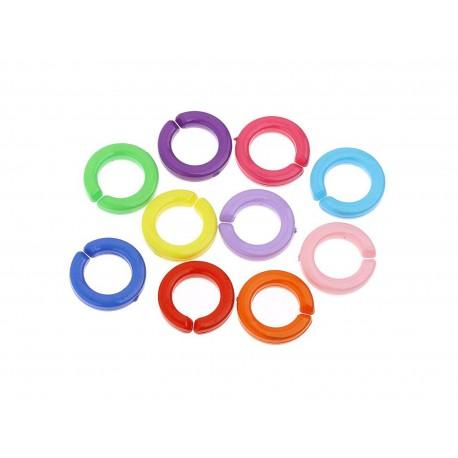 25 Stück bunte Kettenglieder 18mm aus Acryl bunte Ketten selber machen - Schmuckzubehör Gliederkette