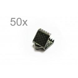 50x gunmetal Bandklemme 6mm schwarzmetallfarben - gunmetal Schmuckzubehör